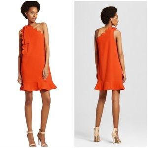 Victoria Beckham  One Shoulder Scalloped Dress